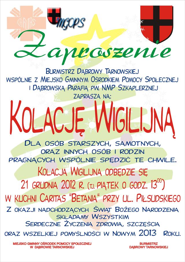 Zaproszenie Na Kolację Wigilijną Dąbrowa Tarnowska