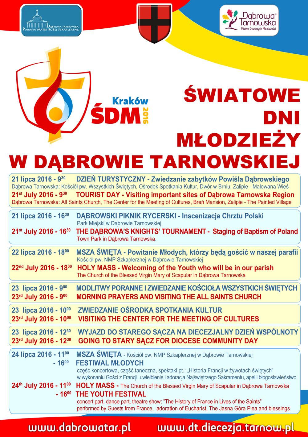 ŚDM DąbrowaTarnowska 2016 Zapraszamy na niezwykłe wydarzenia Tygodnia Misyjnego przed Światowymi Dniami Młodzieży