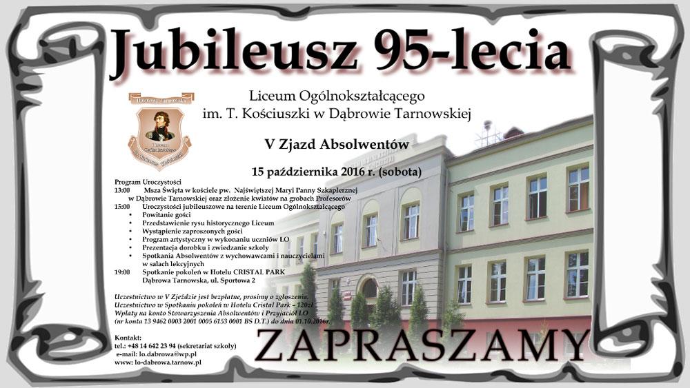 Zaproszenie Na Jubileusz 95 Lecia Liceum Ogólnokształcącego
