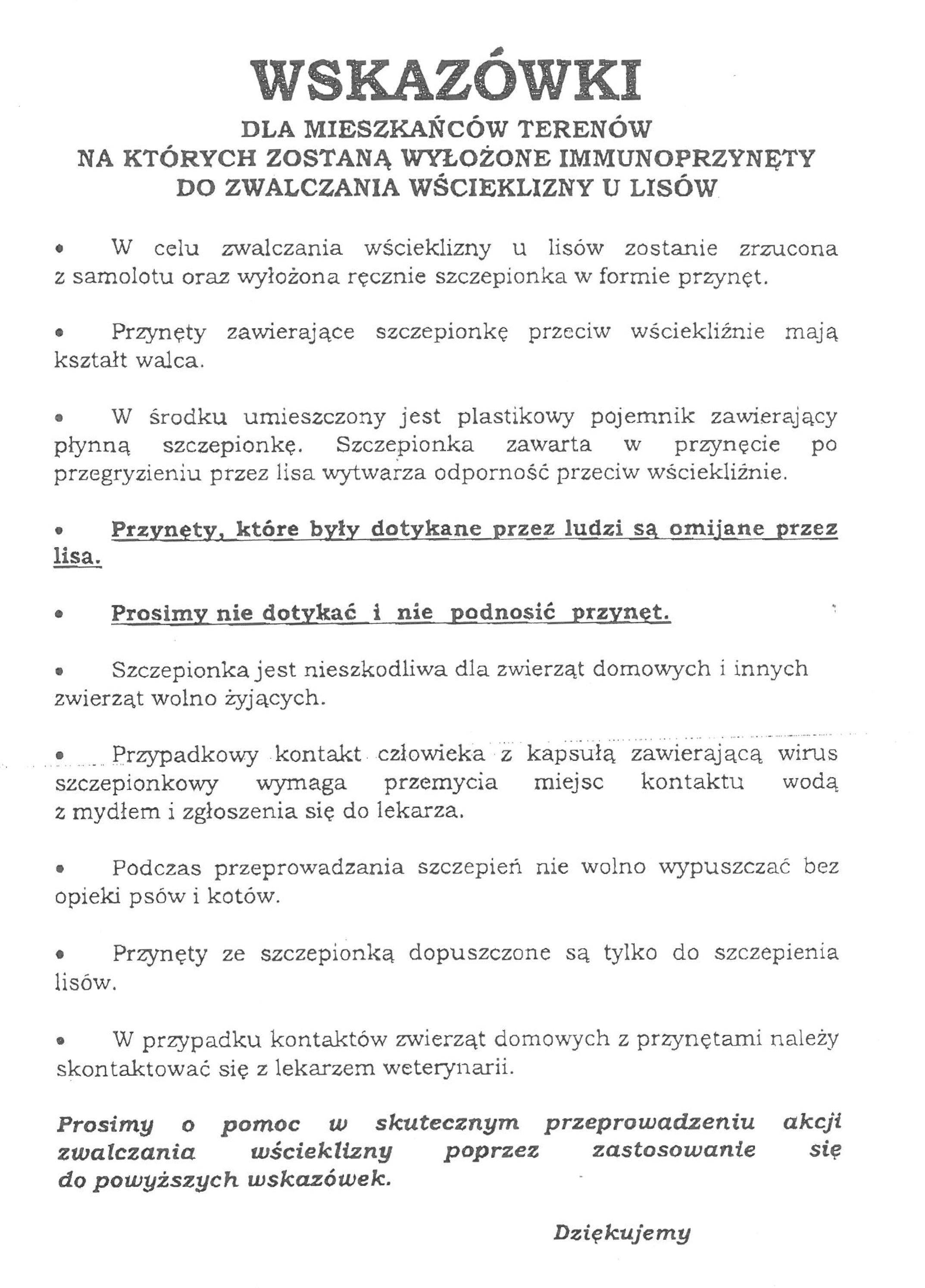 Wskazówki szczepienia lisów Komunikat Małopolskiego Wojewódzkiego Lekarza Weterynarii w Krakowie w sprawie ochronnego szczepienia lisów