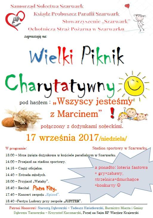 plakat szarwark www Wielki Piknik Charytatywny w Szarwarku już w najbliższą niedzielę