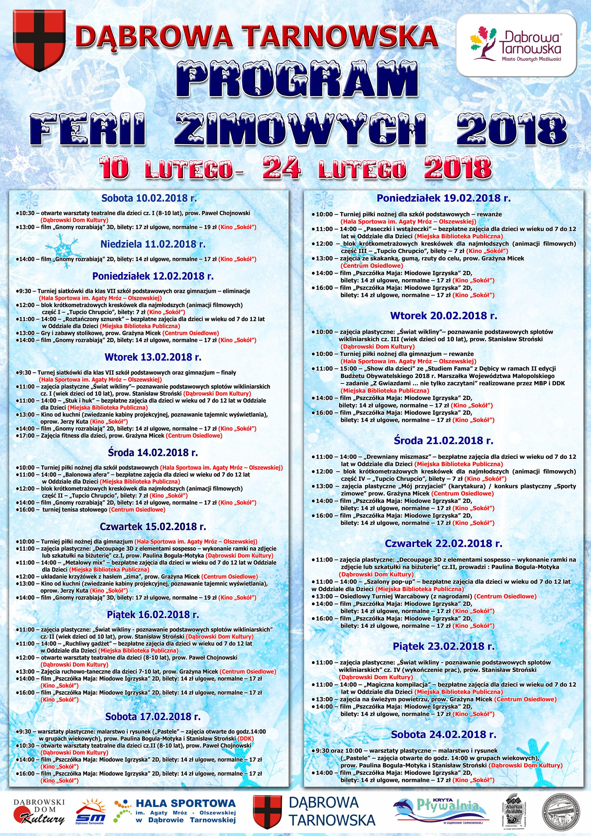 Plakat Ferie2018 Ferie zimowe 2018 w Dąbrowie Tarnowskiej