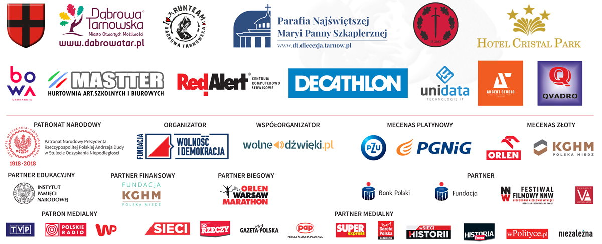"""Sponsorzy Bieg Tropem Wilczym Dąbrowa Tarnowska 2018 Bieg """"Tropem Wilczym"""" w Dąbrowie Tarnowskiej po raz pierwszy"""