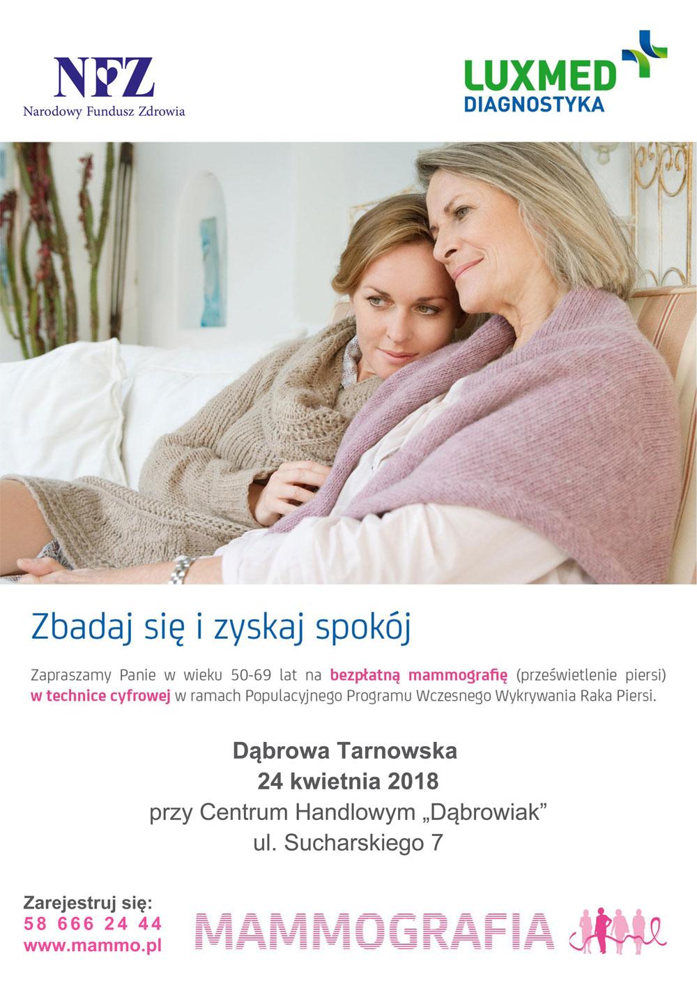 plakat wersja elektroniczna 2018 Masz 50 69 lat i jesteś kobietą? Już w kwietniu możesz zdobić mammografię w Dąbrowie Tarnowskiej