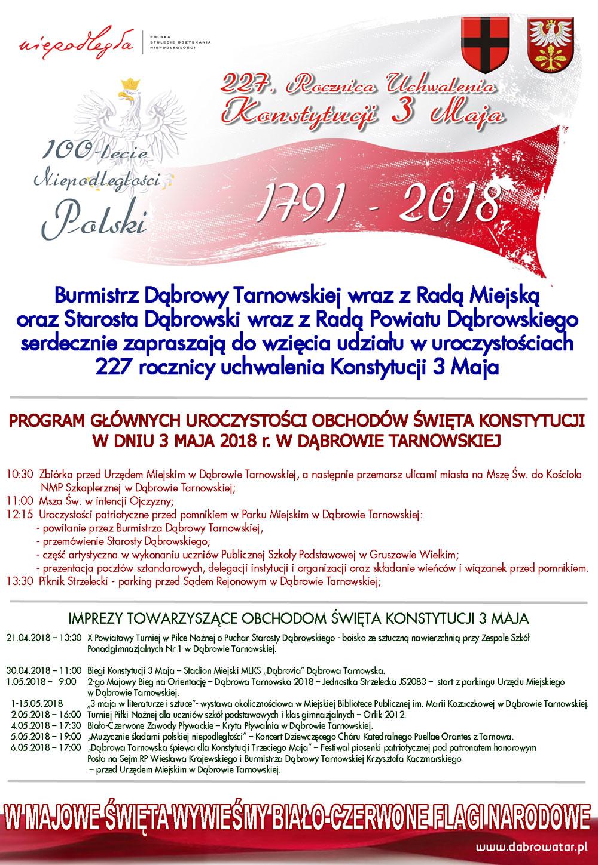 3 maja 2018 plakat Zapraszamy na obchody 227 Rocznicy Uchwalenia Konstytucji 3 Maja w Roku 100 lecia Niepodległości Polski