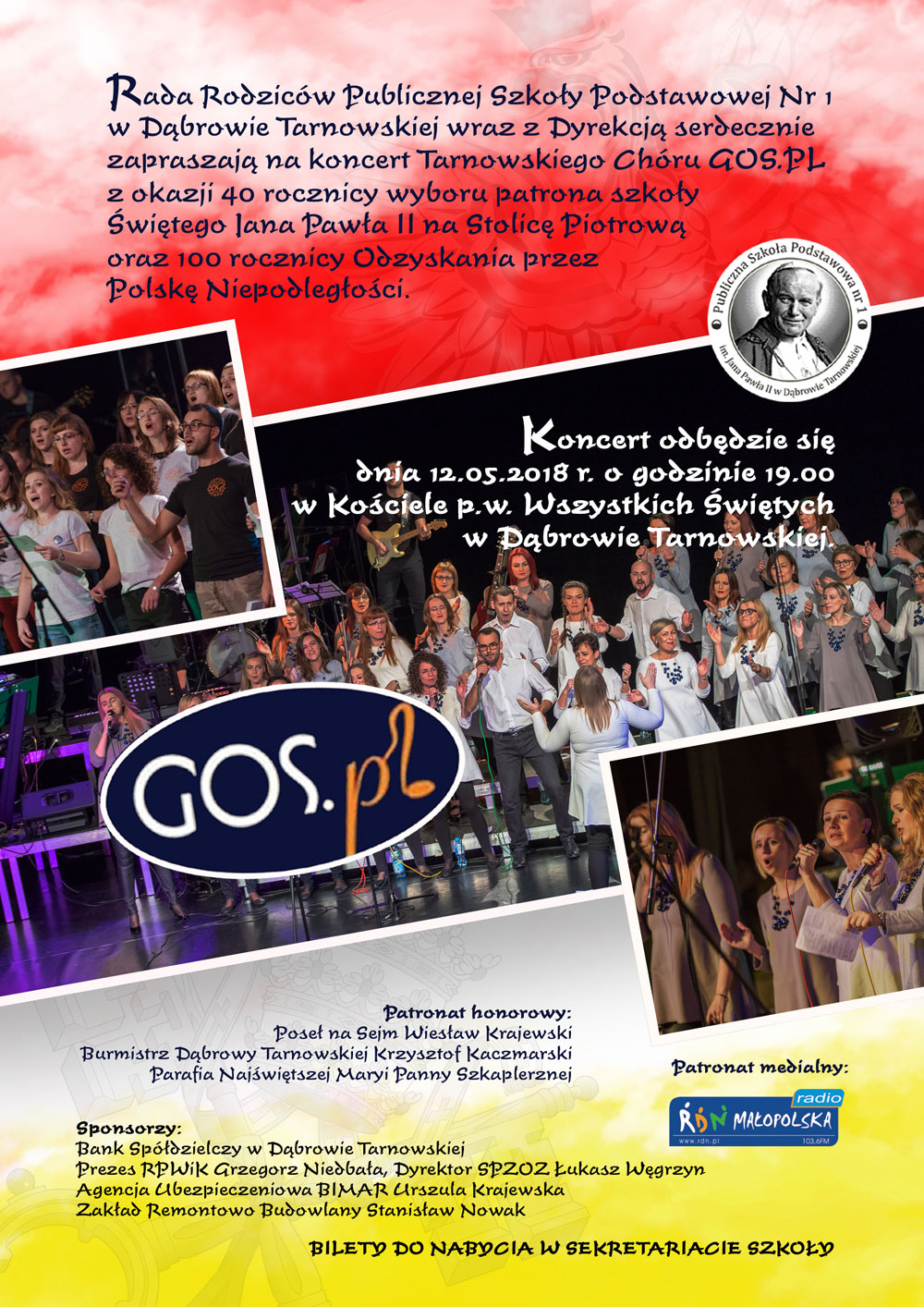 Koncert GOS PL 12maja2018 Dąbrowa Tarnowska Zapraszamy na koncert Tarnowskiego Chóru GOS.PL   12 maja br.
