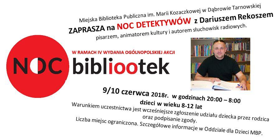 zaproszenie Noc Detektywów w Miejskiej Bibliotece Publicznej w Dąbrowie Tarnowskiej