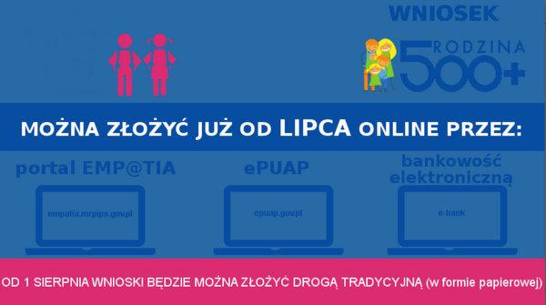 500 i 300 online Bez kolejki – elektronicznie już od 1 lipca wnioski online o Rodzina 500+ oraz Dobry Start