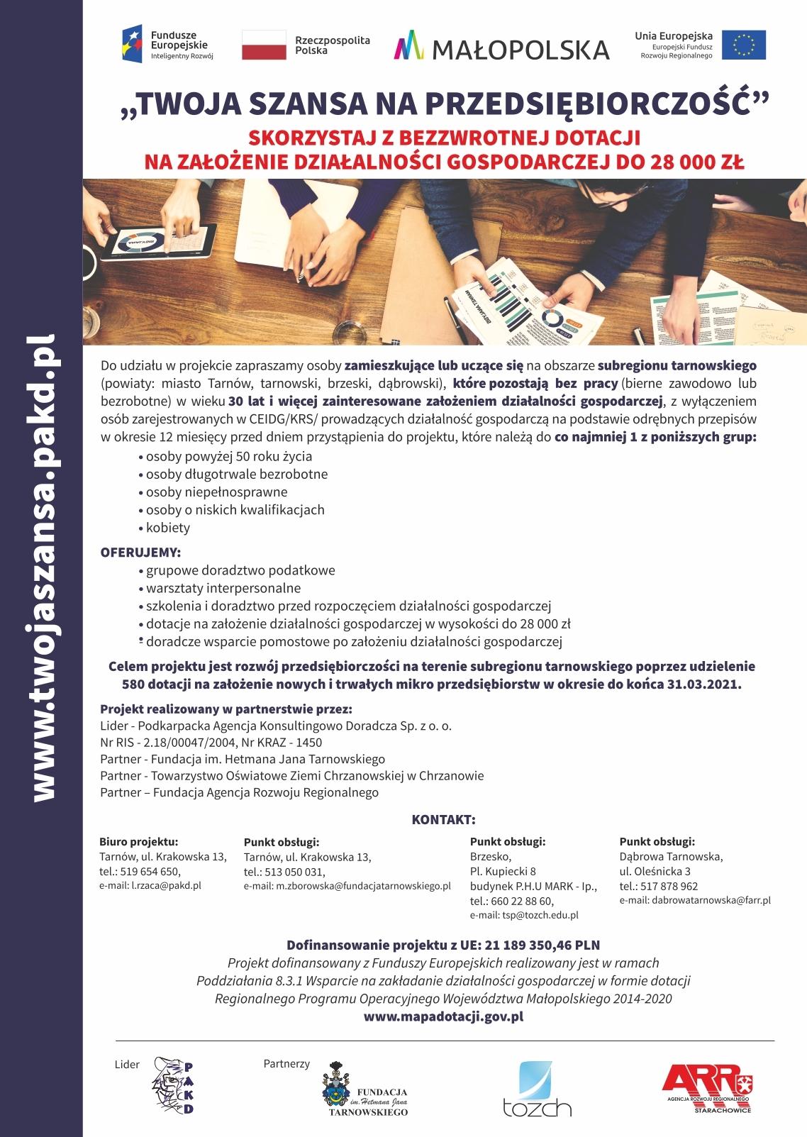 TSP plakat aktualny elektroniczny Rekrutacja do projektu Twoja szansa na przedsiębiorczość