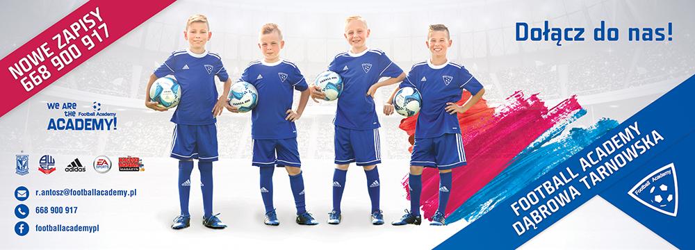 nabory plakat Szkółka Piłkarska Football Academy Dąbrowa Tarnowska ogłasza nowy nabór