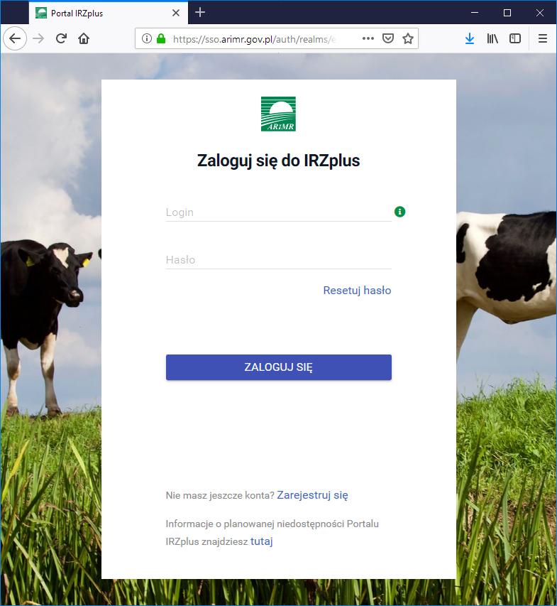 logowanie do portali IRZ ARiMR Aplikacja i portal IRZplus   zgłaszanie zdarzeń przez Internet