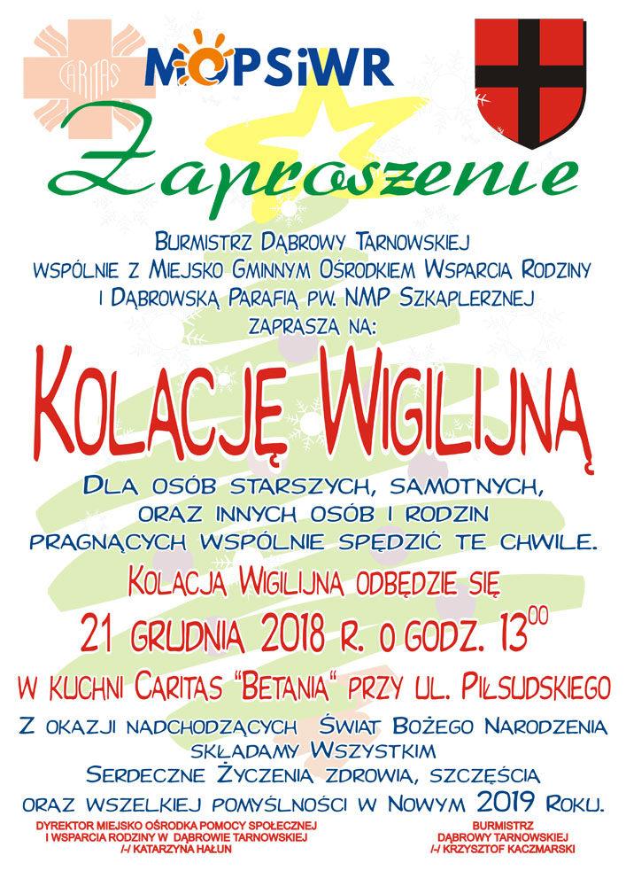 Zaproszenie na Kolację Wigilijną 2018 Zaproszenie na Kolację Wigilijną