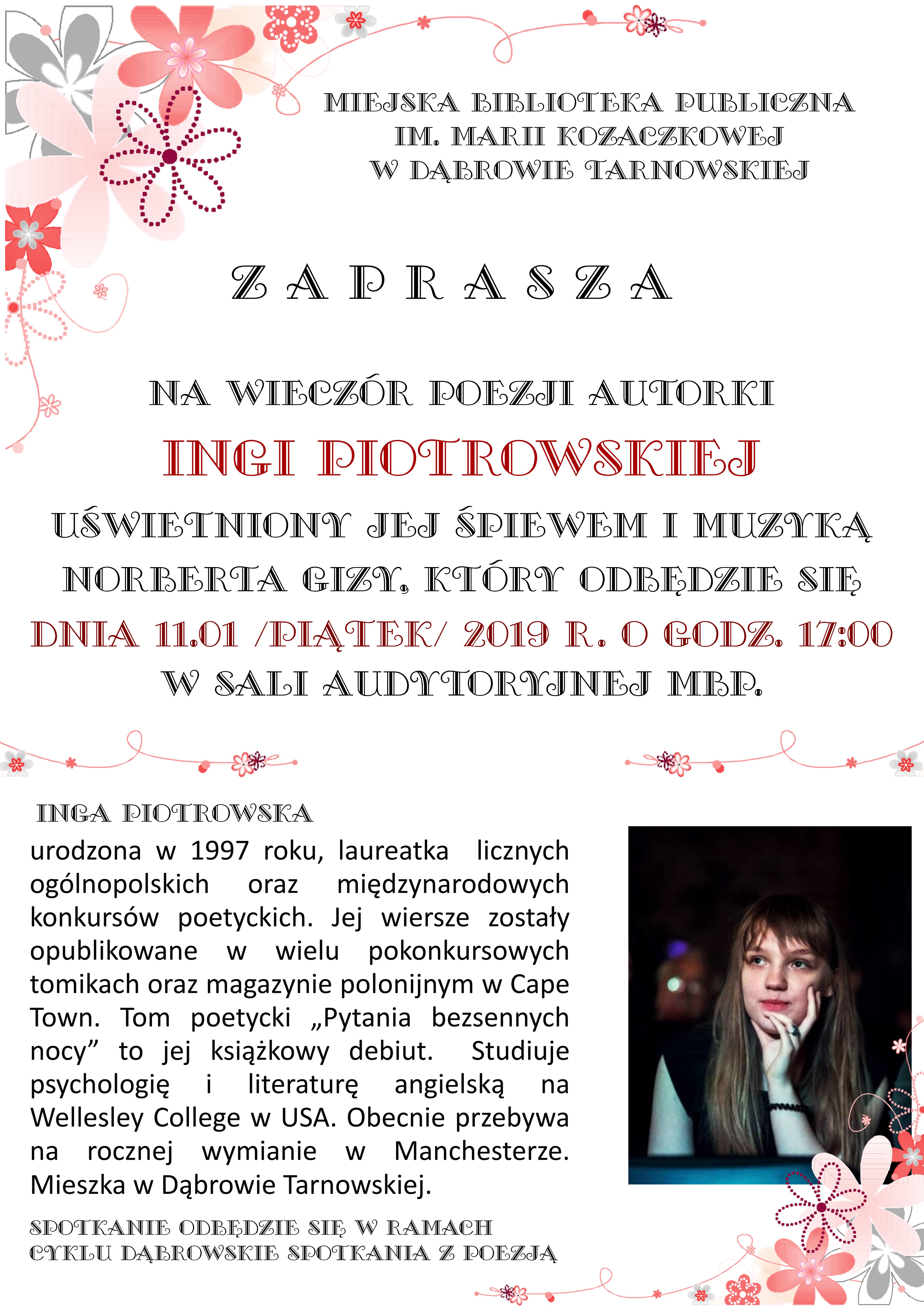 Zaproszenie Na Wieczór Poezji Ingi Piotrowskiej Dąbrowa Tarnowska