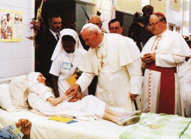 """Jan Paweł II cghorzy 27. Światowy Dzień Chorego    />""""Darmo otrzymaliście, darmo dawajcie"""" (Mt 10, 8)</i>"""