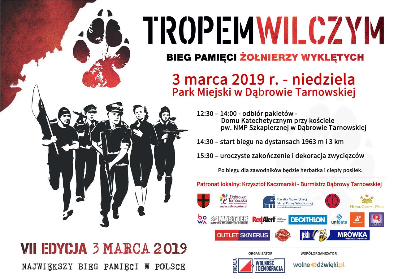 Plakat BiegTropemWilczym 2018 Dąbrowa Tarnowska 3 marca w Dąbrowie Tarnowskiej odbędą się uroczystości patriotyczne ku czci Żołnierzy Wyklętych. Serdecznie zapraszamy!