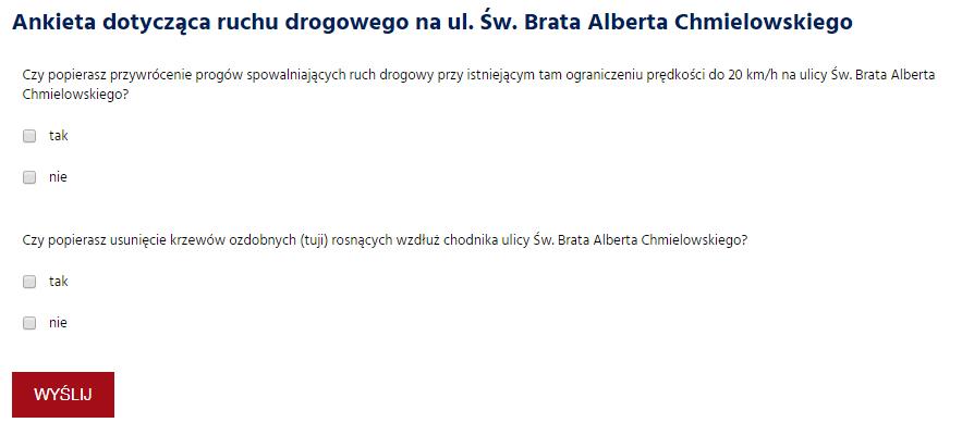 Ankieta ul BACh Ankieta dotycząca ruchu drogowego na ul. Św. Brata Alberta Chmielowskiego