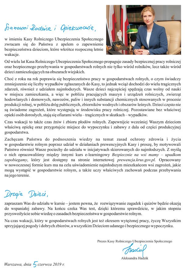 List wakacje 2019 KRUS List Prezesa KRUS do Dzieci, Rodziców i Opiekunów z apelem o zapewnienie bezpieczeństwa dzieciom, które wkrótce rozpoczną letnie wakacje
