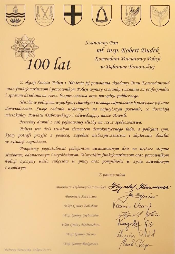 Plakieta 100 lat Policji Powiatowe Obchody Święta Policji z okazji 100. rocznicy powstania Policji w Polsce