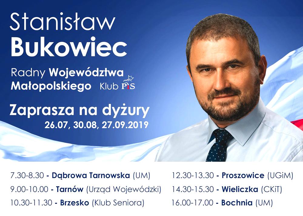 Stanisław Bukowie Dyżur Radnego PiS Wizyta Radnego Sejmiku Stanisława Bukowca w Urzędzie Miejskim