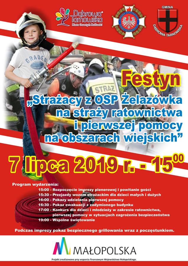 Strażacy Żelazówka plakat ver www Zaproszenie na festyn tematyczny do Żelazówki