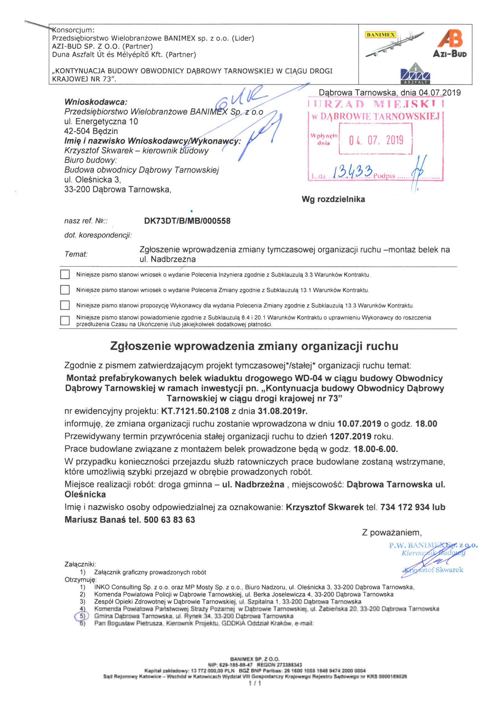 Zgłoszenie 2 001 Zmiany organizacji ruchu drogowego