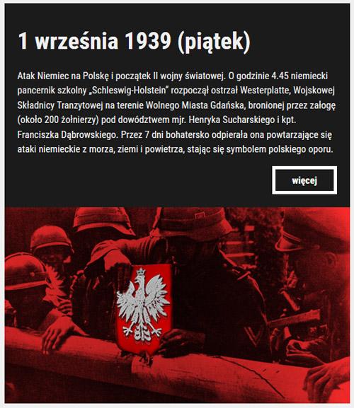 Kalendarium września39 80. rocznica napaści hitlerowskich Niemiec na Polskę i wybuchu II Wojny Światowej