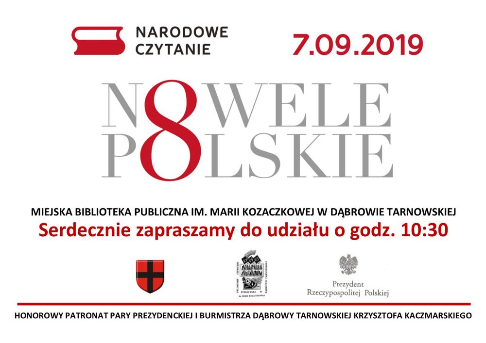 zaproszenie Narodowe czytanie 2019 Już w najbliższą sobotę Narodowe Czytanie 2019 w Miejskiej Bibliotece Publicznej