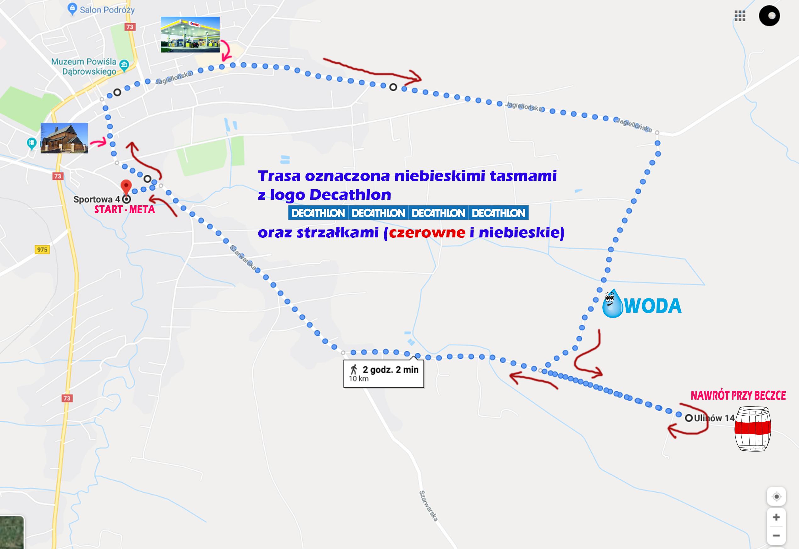 """10KM MAPA BIEGNIJ DĄBROWO Już jutro """"Biegnij Dąbrowo"""" Run Team   Profesjonalny Bieg w Dąbrowie Tarnowskiej"""