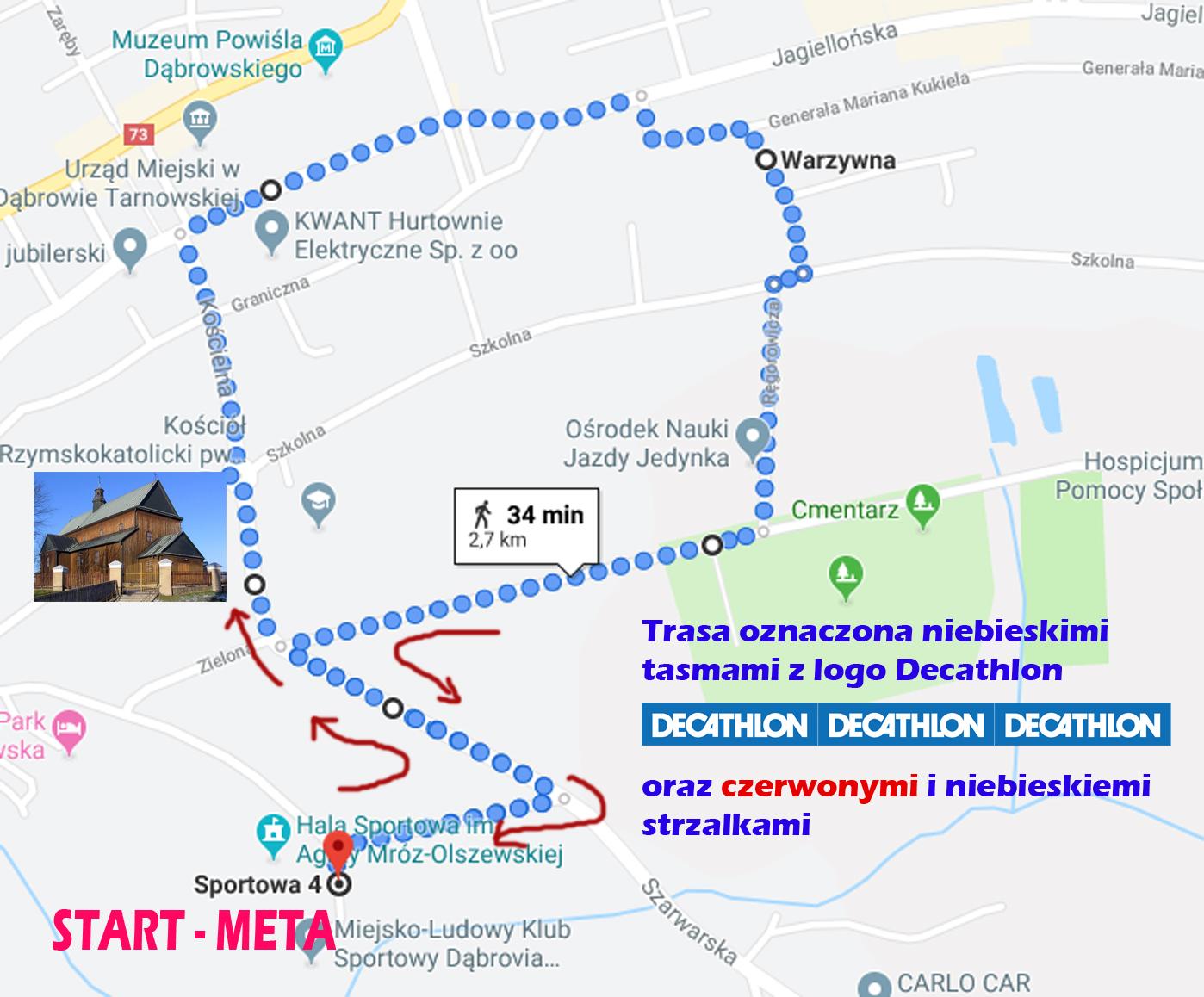 """3KM MAPA BIEGNIJ DĄBROWO Już jutro """"Biegnij Dąbrowo"""" Run Team   Profesjonalny Bieg w Dąbrowie Tarnowskiej"""