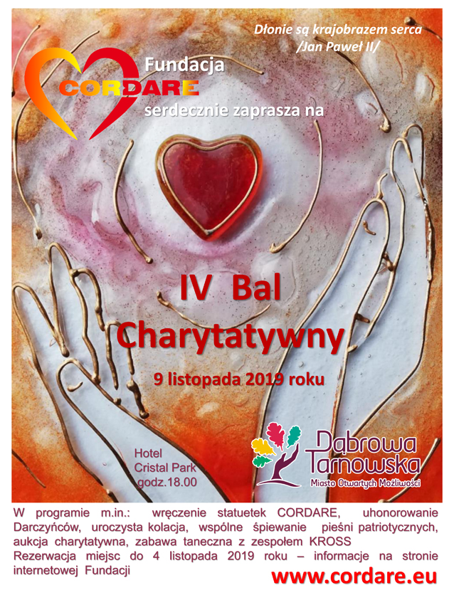 plakat na strone bal z programem 1 Fundacja CORDARE zaprasza na IV Bal Charytatywny