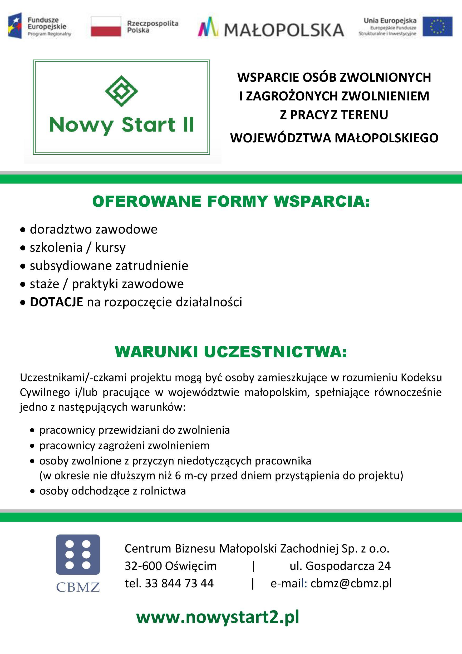 plakat nowy start 21 Projekt Nowy Start II dla osób zwolnionych i zagrożonych zwolnieniem