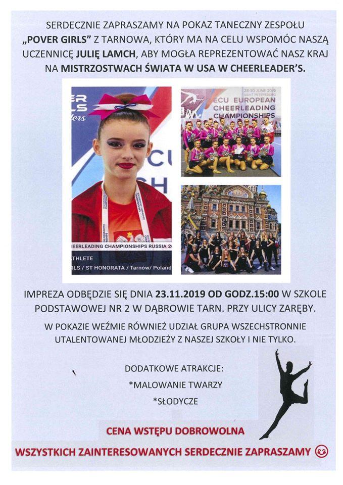 pokaz POVER GIRLS 2019 Zapraszamy do dąbrowskiej Dwójki na pokaz taneczny Zespołu Pover Girls