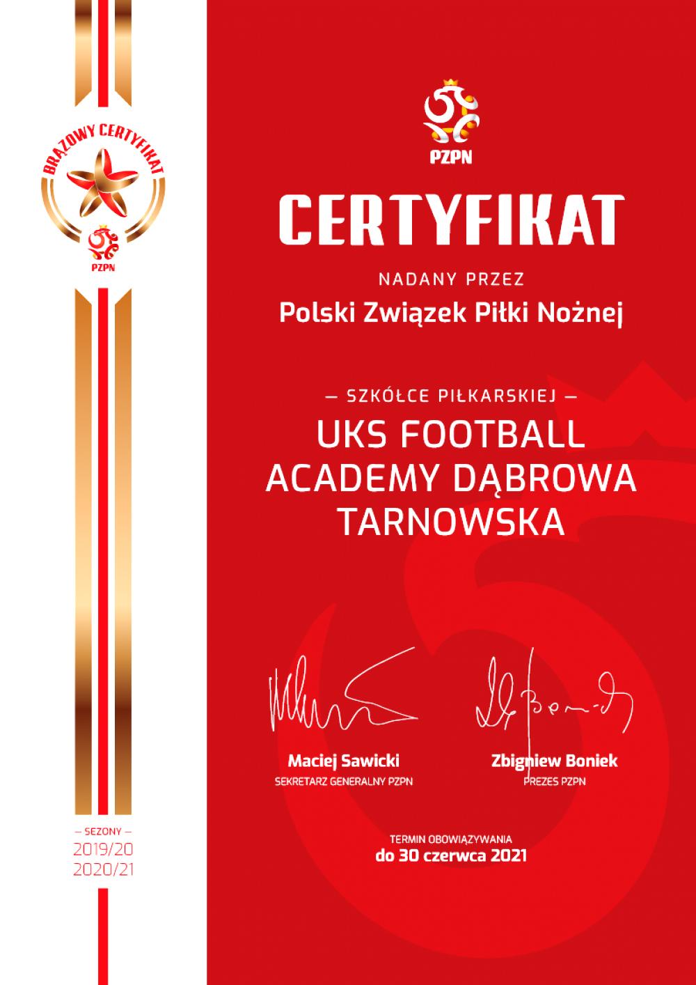 Brązowy Certyfikat PZPN Football Academy Dąbrowa Tarnowska 2019 Dąbrowska Football Academy z Brązowym Certyfikatem Szkółek Piłkarskich PZPN