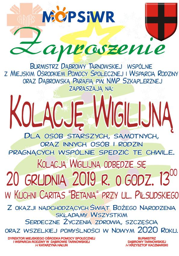 Wigilia Caritas 2019 Zaproszenie na Kolację Wigilijną