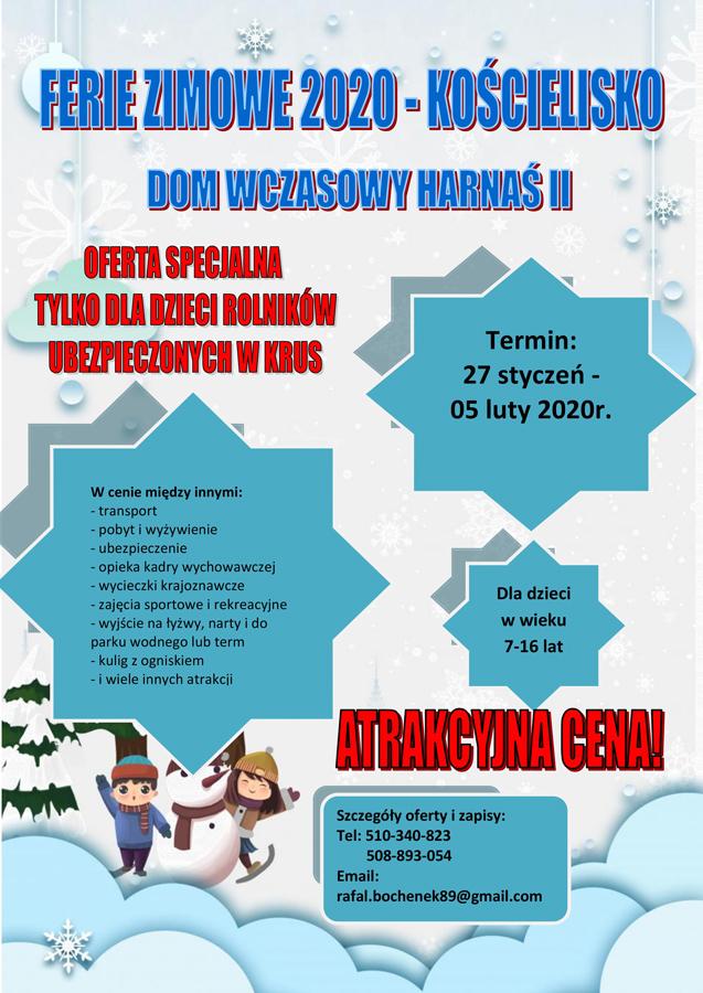 """Zimowisko KRUS Kościelisko Oferta """"Zimowiska 2020"""" współfinansowanego przez KRUS   Kościelisko"""