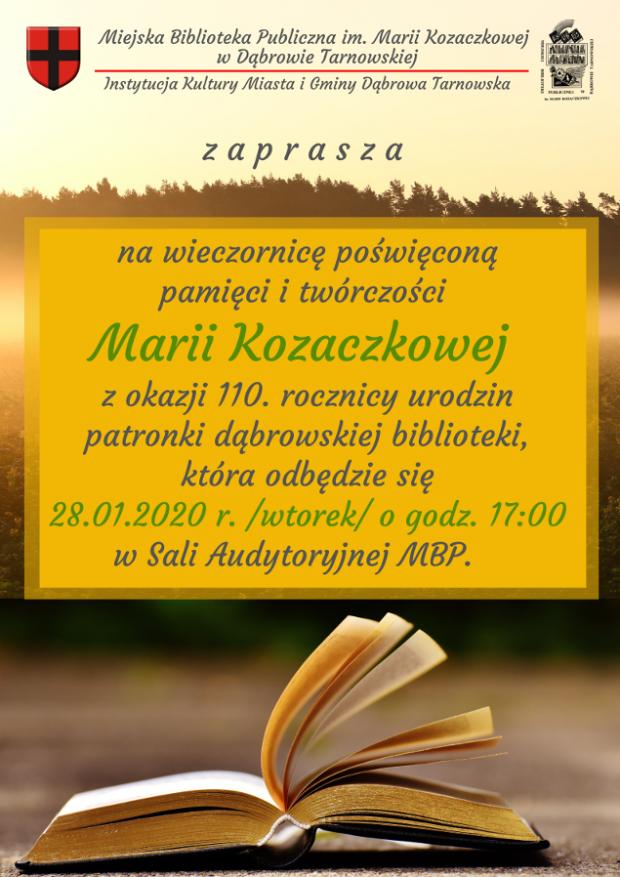Plakat wieczornica MBP 2020 Dąbrowska biblioteka zaprasza na wieczornicę poświęconą pamięci i twórczości Marii Kozaczkowej