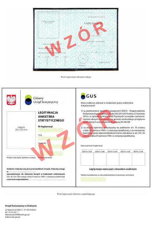 Załącznik 1 wzory legitymacji ankietera Informacja Urzędu Statystycznego w Krakowie dotycząca badań, które będą przeprowadzane w 2020 r.