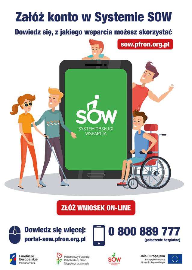 plakat 2019 SOW System Obsługi Wsparcia finansowanego ze środków PFRON  w całej Małopolsce!