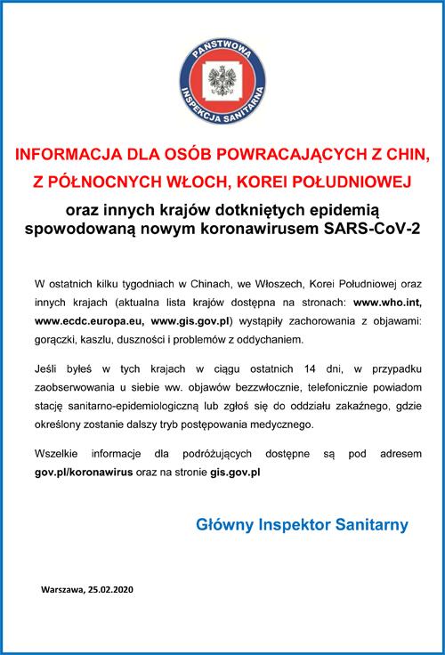 2019 nCoV ULOTKA PL ver 3 <font color=r />Co musisz wiedzieć o koronawirusie SARS Cov 2<br>oraz<br>Informacje Głównego Inspektora Sanitarnego dla osób powracających z północnych Włoch, Chin, Korei Południowej, Iranu, Japonii, Tajlandii, Wietnamu, Singapuru i Tajwanu