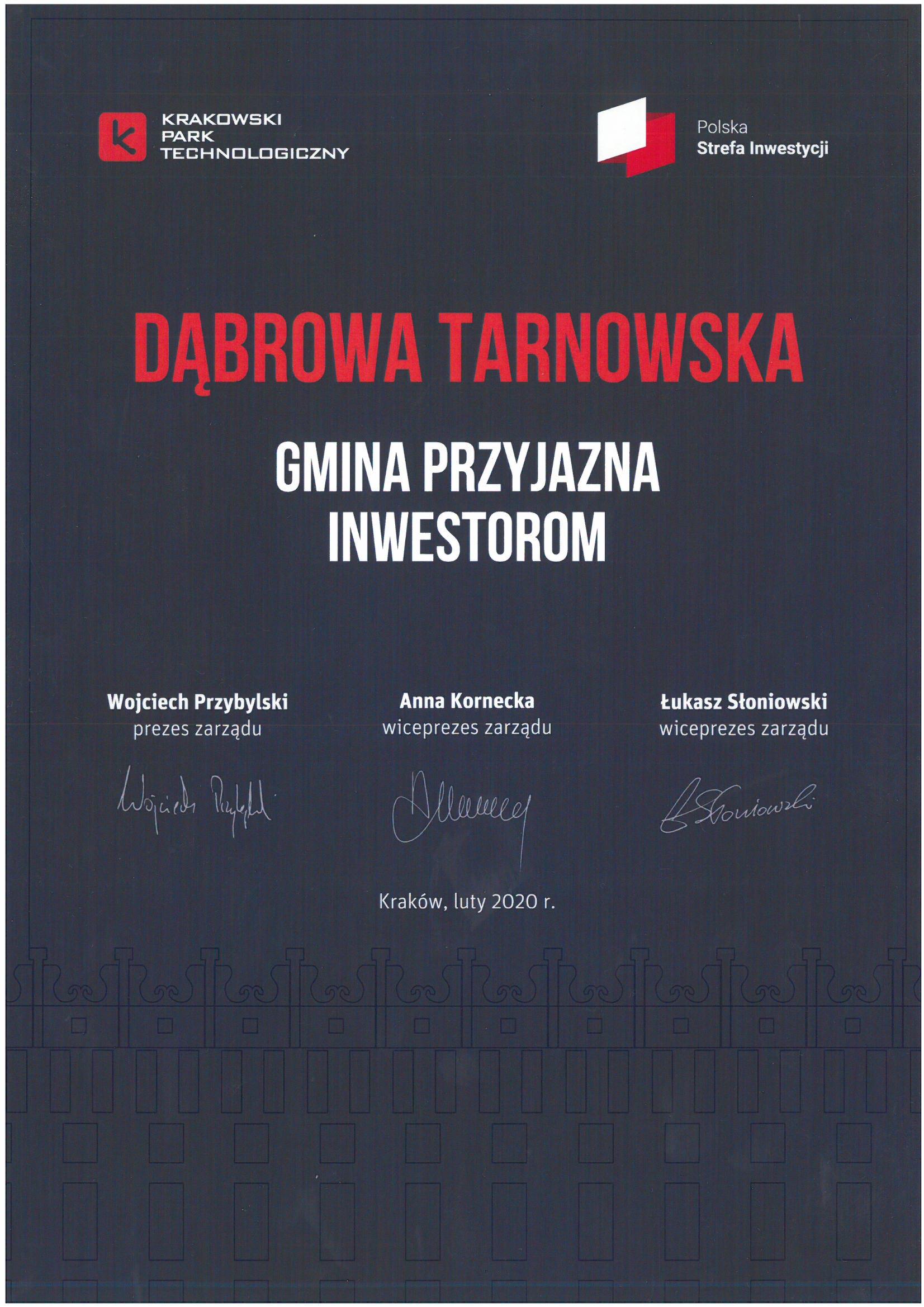 Gmina Przyjazna Inwestorom 2020 Gmina Dąbrowa Tarnowska z wyróżnieniem Krakowskiego Parku Technologicznego