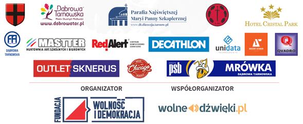 """Organizaorzy i sponsorzy Dąbrowski Bieg Pamięci Żołnierzy Wyklętych """"Tropem Wilczym"""" 2020"""