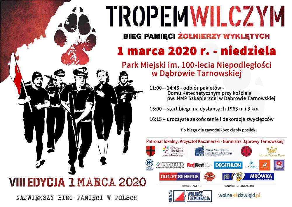 Plakat BiegTropemWilczym 2020 Dąbrowa Tarnowska 1 marca   Narodowy Dzień Pamięci Żołnierzy Wyklętych< />Cześć i chwała Bohaterom!