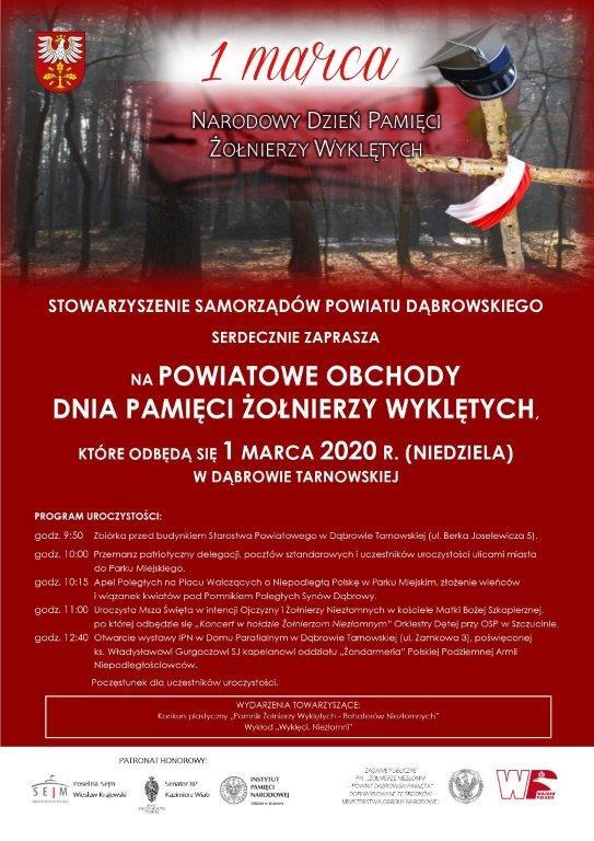 plakat ŻW 2020 jpg Powiatowe Obchody Dnia Pamięci Żołnierzy Wyklętych – zaproszenie
