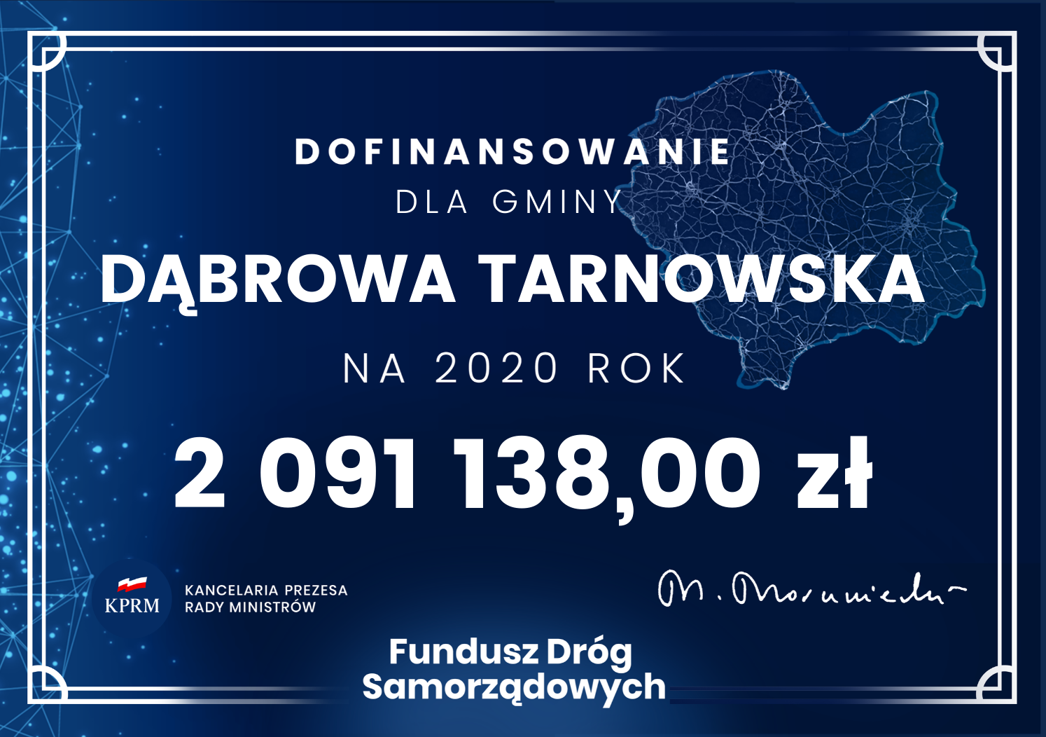 FDS 2020 GMINA DĄBROWA TARNOWSKA Promesa z Funduszu Dróg Samorządowych na inwestycje drogowe w Dąbrowie Tarnowskiej