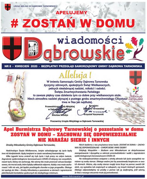 GazetaUMDT Wiadomości Dąbrowskie KWIECIEŃ 8 2020 500 <cent />WIADOMOŚCI DĄBROWSKIE</center>