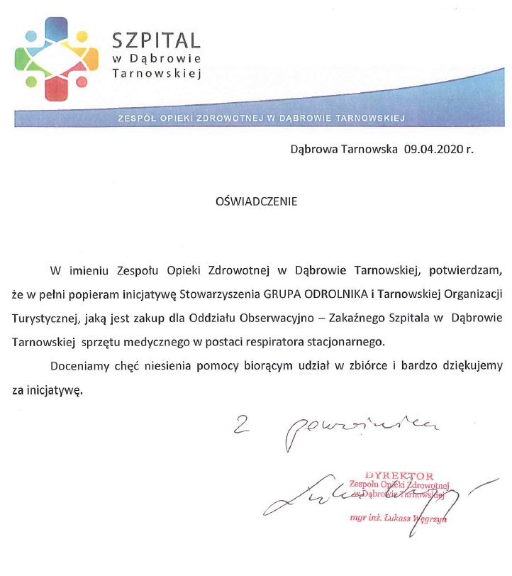 Oświadczenie dąbrowskiego szpitala Zbiórka społeczna na respirator dla dąbrowskiego szpitala