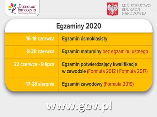 Terminy egzaminów 2020 Egzamin ósmoklasisty 2020. Życzymy powodzenia!