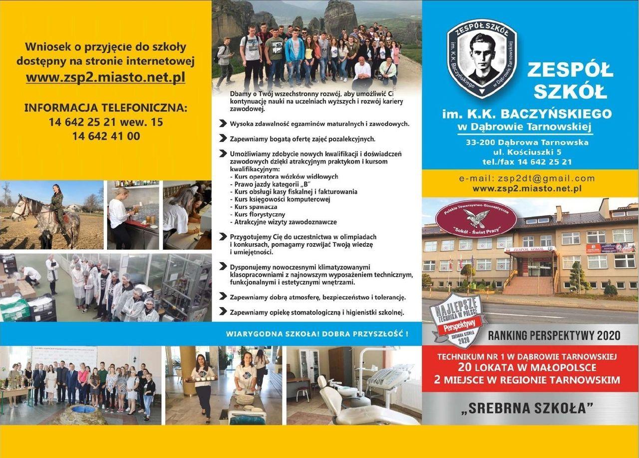 Oferta ZS Baczyński1 Zapraszamy absolwentów szkół podstawowych do skorzystania z ofert szkół średnich na Powiślu Dąbrowskim