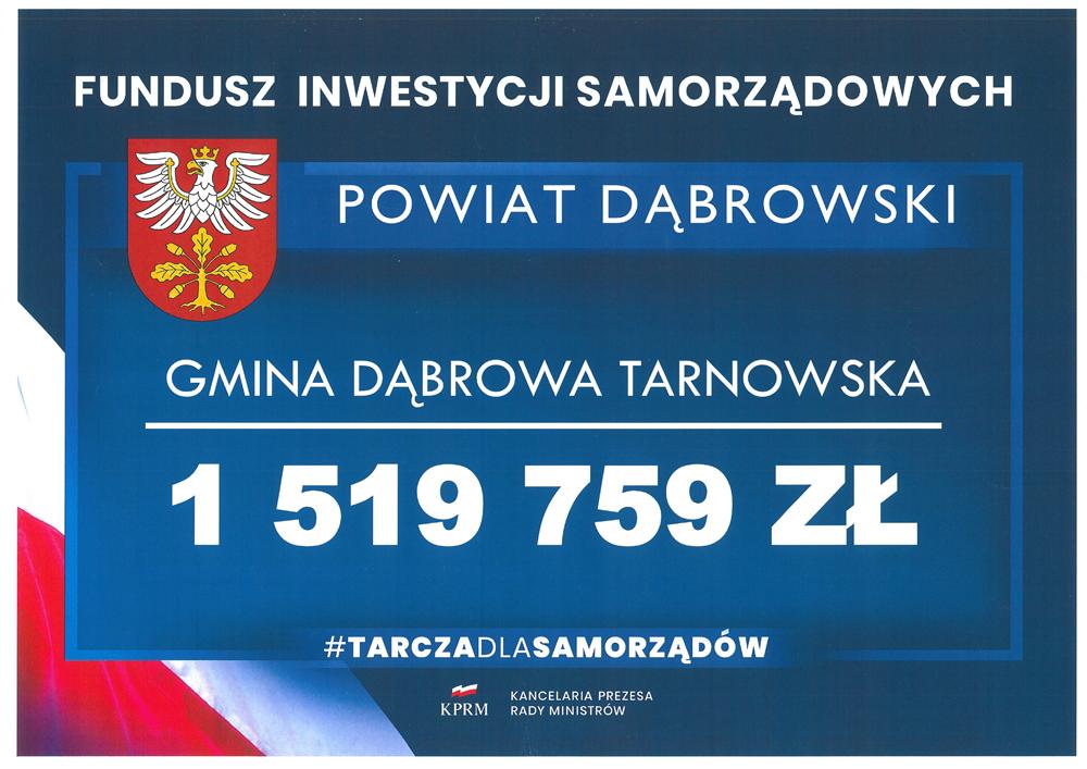 Czek Fundusz Inwestycji czerwiec2020 1000 Tarcza dla Samorządu Miasta i Gminy Dąbrowa Tarnowska