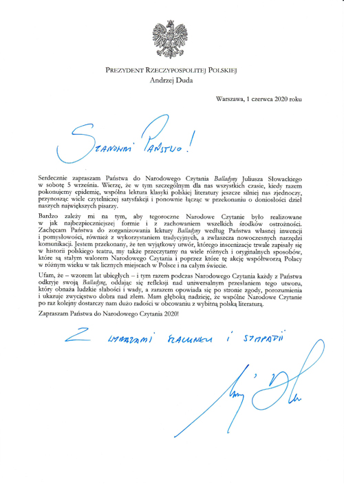 List Prezydenta RP Narodowe Czytanie 2020 Balladyna Juliusza Słowackiego lekturą dziewiątej odsłony Narodowego Czytania   5 września 2020 r.